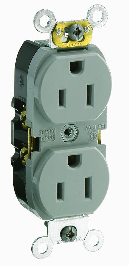 Leviton CR015-GY 15 Amp, 125 Volt, Slim Body Duplex Receptacle ...