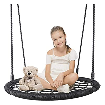 "40'' Spider Web Tree Swing Net Swing Platform Rope Swing 71"" Detachable Nylon Rope Swivel, Max 330 Lbs, Extra Safe and Durable, Fun for Kids, Outdoor Hanging Play Slide Seat: Garden & Outdoor"