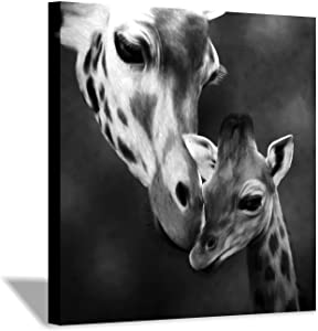 "Giraffe Canvas Wall Art Painting: Animal Mama and Baby Kiss Artwork Prints for Decor (24""x24"")"