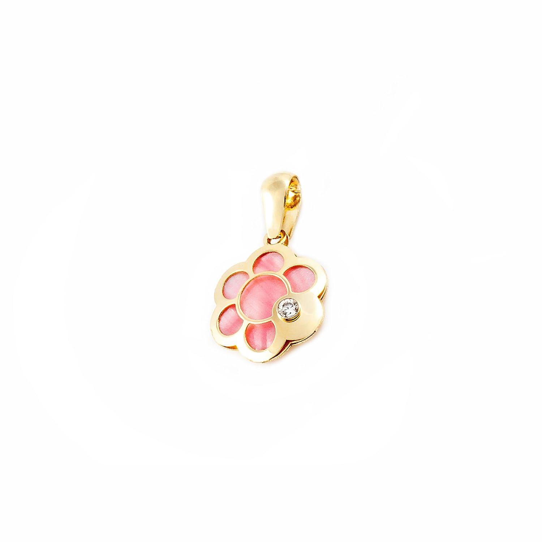 Pendentif Enfant fleur avec nacre rose Or Jaune 9 Carats Mondepetit T2132C9K