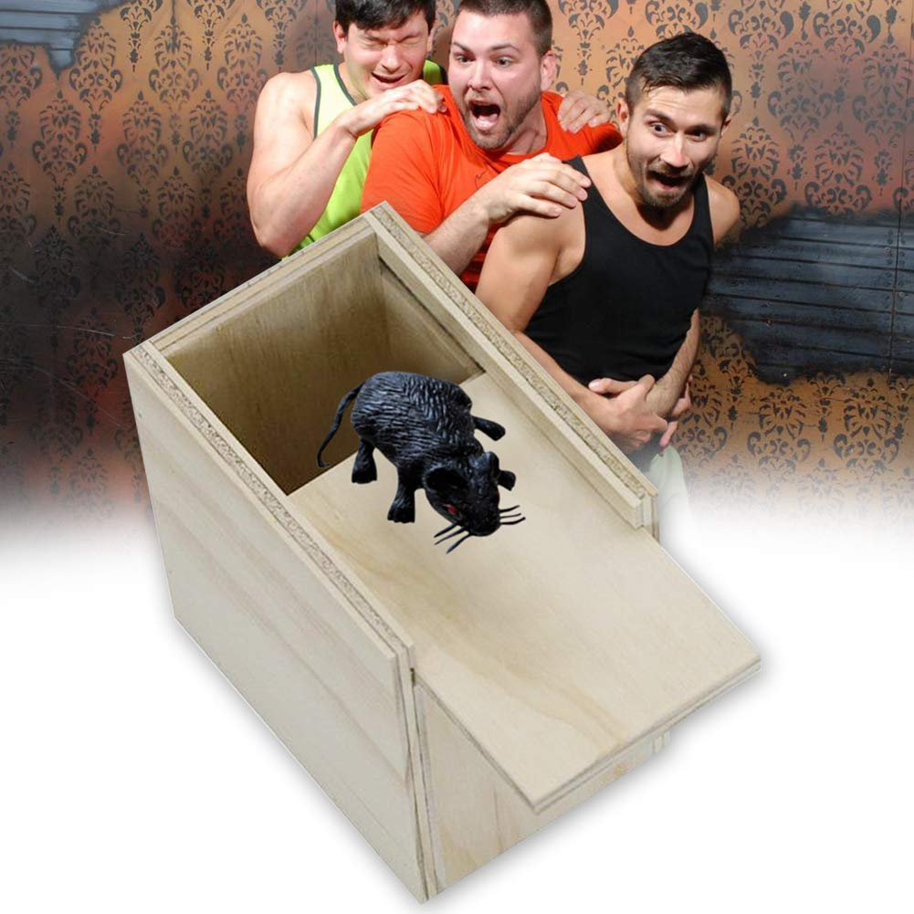 WFZ17 Toys For Adults Funny Scare Box Simulation Mouse Hidden in Case Wooden Prank Trick Play Toy