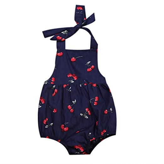 e88a2eb26e5 Infant Baby Girls One-Piece Romper Cute Halter Backless Cherry Printed  Floral Bodysuit Ruffle Jumpsuit