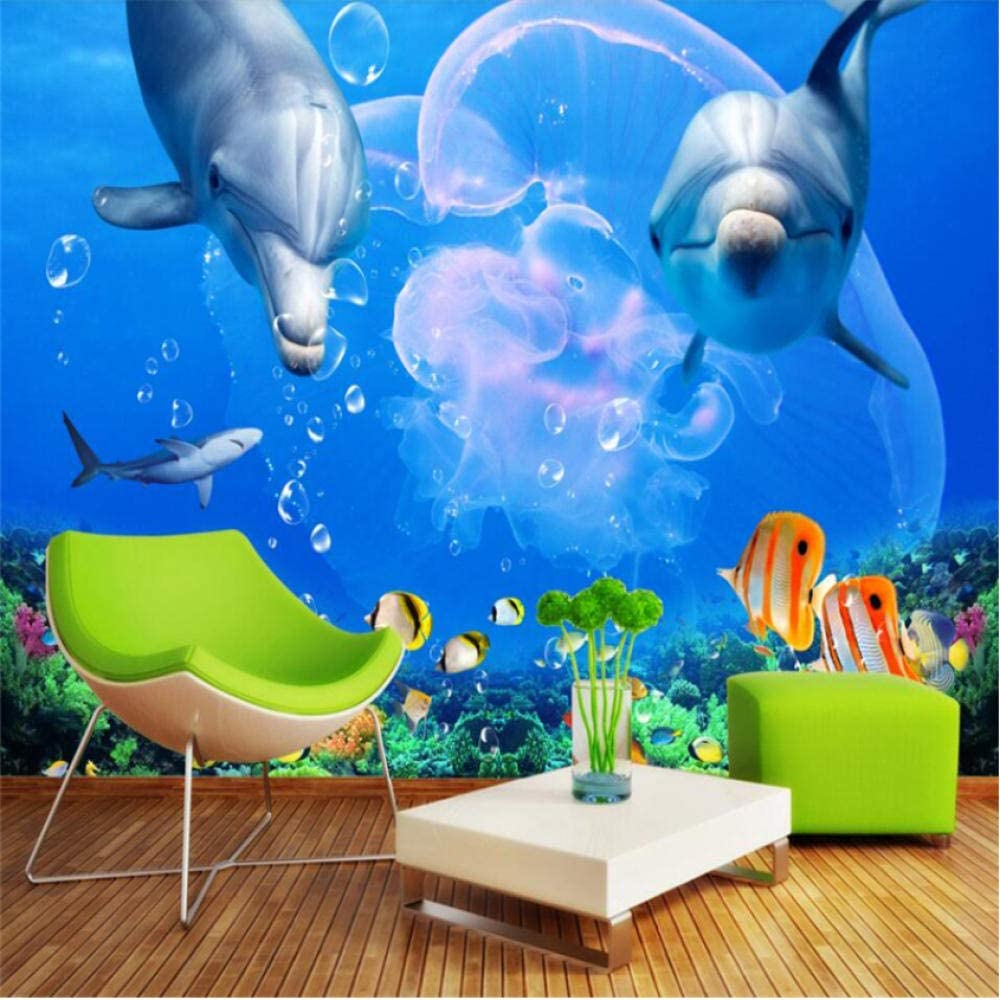 Pbldb Underwater World Marine Dolphin Great White Shark Underwater World Tv Wall Custom Large Mural Green Wallpaper -200X140Cm