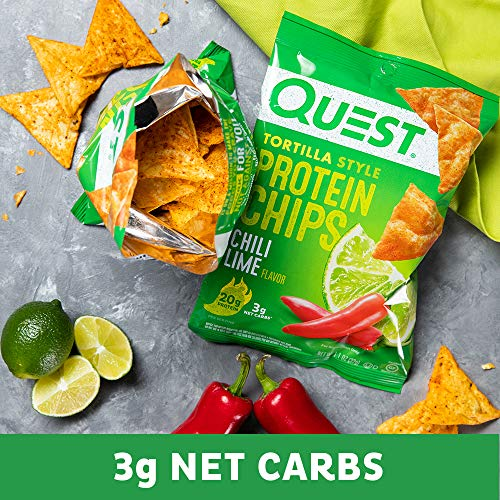 Quest Nutrition Tortilla Style Protein Chips, Chili Lime, Low Carb, Gluten Free, Baked, 8 Count