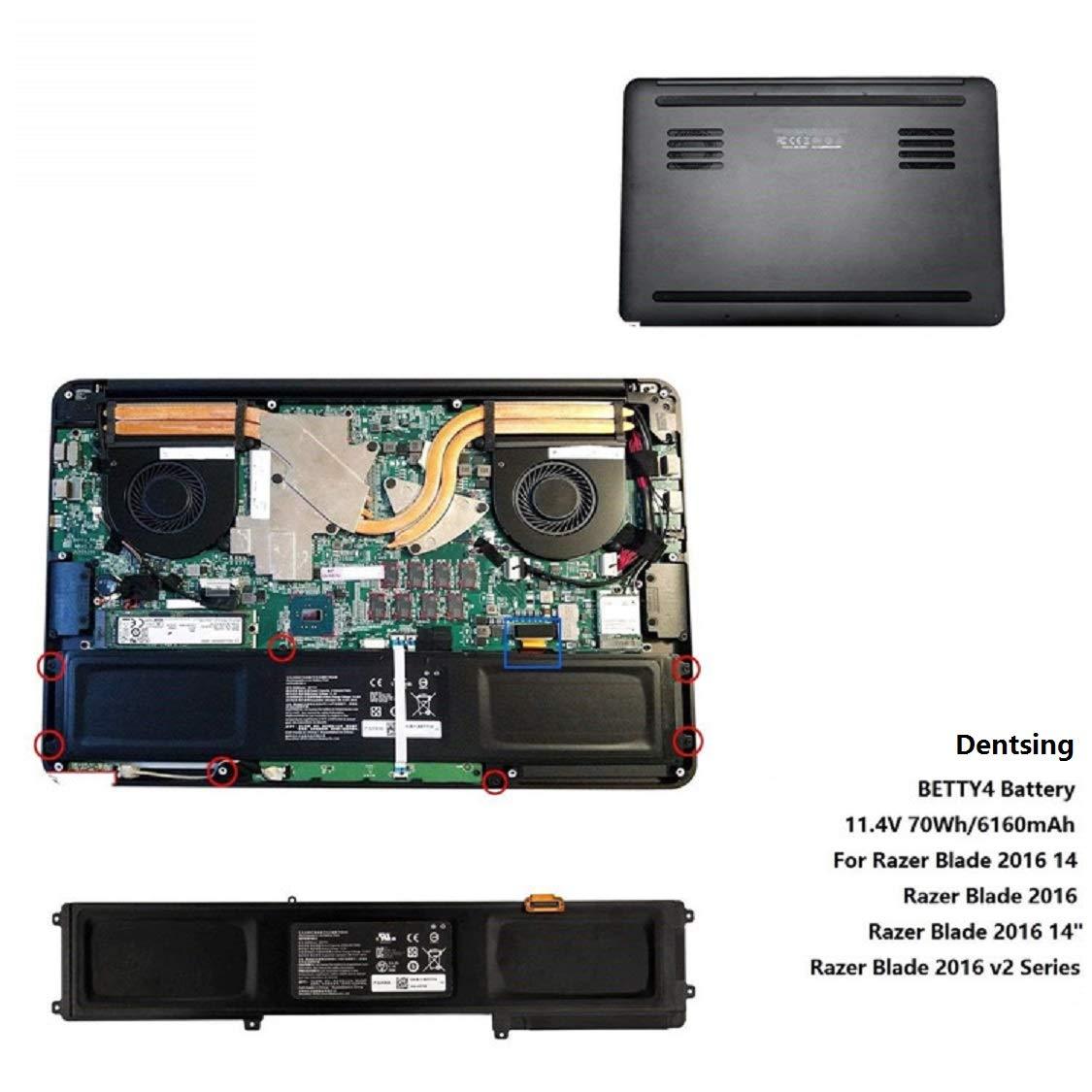 Dentsing 11.4V 6160mAh BETTY4 Battery For Razer Blade 2016 14'' V2 Series Laptop 3ICP4/56/102-2 RZ09-0195 RZ09-0165 RZ09-01953E72 CN-B-1-BETTY4-73K-06472 70Wh by Dentsing (Image #5)