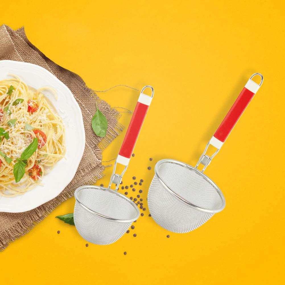 BESTONZON Passoire /à Mailles en Acier Inoxydable avec Manche Plastique Tamis /à Nouilles pour Restaurant Cuisine 12cm