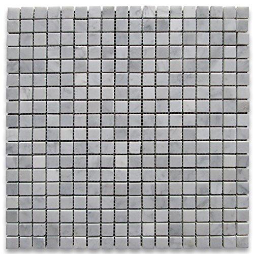 Square Marble Mosaic - Carrara White Italian Carrera Marble Square Mosaic Tile 5/8 x 5/8 Honed