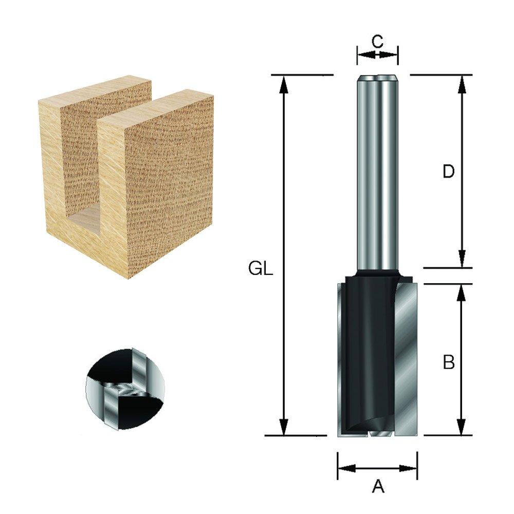 Di/ámetro L total de 90 mm 8 mm 8 mm A con corte HW para taladrar ENT Fresa para ranurar HW B 30 mm Mango C D 58 mm
