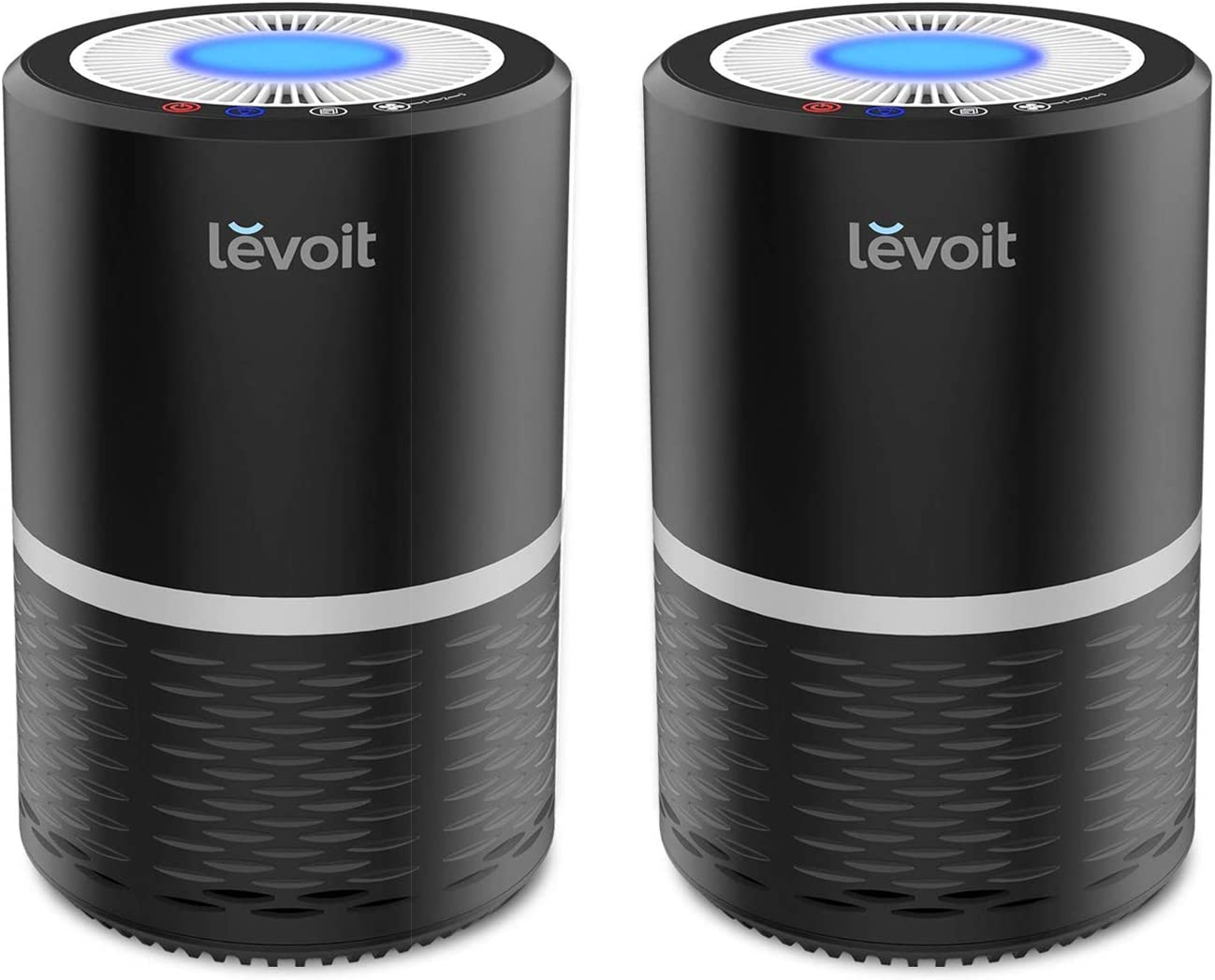 LEVOIT Air Purifier for Home Smokers Allergies and Pets Hair, True HEPA Filter, Quiet in Bedroom,Filtration System Eliminators, Odor Smoke Dust Mold, Night Light, 2-Yr Warranty, LV-H132, Black, 2PACK
