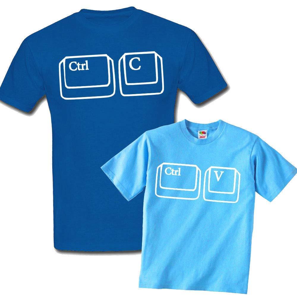 Set padre e figlio t-shirt uomo + t-shirt bimbo Ctrl C + Ctrl V, copia e incolla divertente: scegli i tuoi colori!