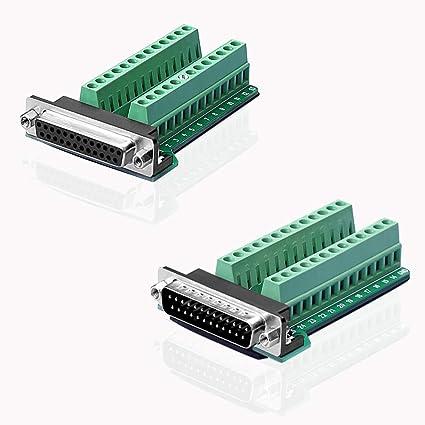 S SIENOC D-SUB DB25-G2 Male+M2 Female 25Pin Plug Breakout to PCB Board Terminals Connectors