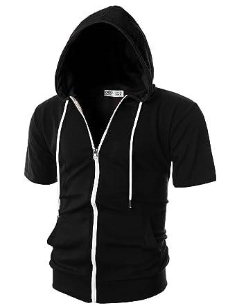 bbf97b4b OHOO Mens Slim Fit Short Sleeve Lightweight Zip-up Hoodie with Kanga  Pocket/DCF007