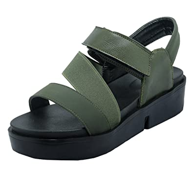 AIYOUMEI Damen Flache Plateau Sandalen mit Klettverschluss Keilabsatz  Sandaletten Damen Absatz 4CM Grün 32.5 EU 733c719e77