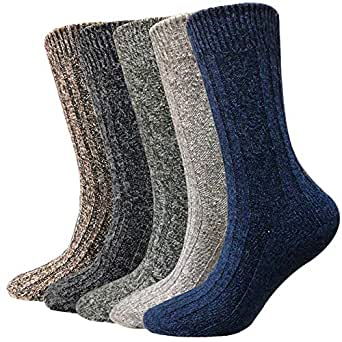 Wool Socks for Men 5 Pack-Hiker Winter Soft Thick Warm
