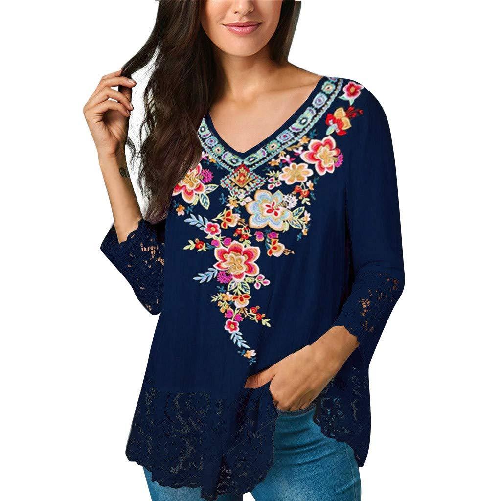 Women V Neck Print Lace Harf T-Shirt Casual Tops Camis Tunics Blouse Dark Blue