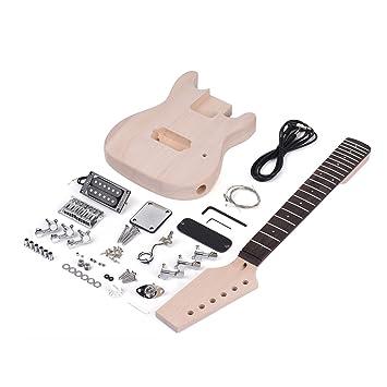 ammoon Guitarra Eléctrica DIY Niños Estilo ST Inconcluso Kit Cuerpo de Tilo Mástil de Madera de Arce Diapasón de Palisandro: Amazon.es: Instrumentos ...