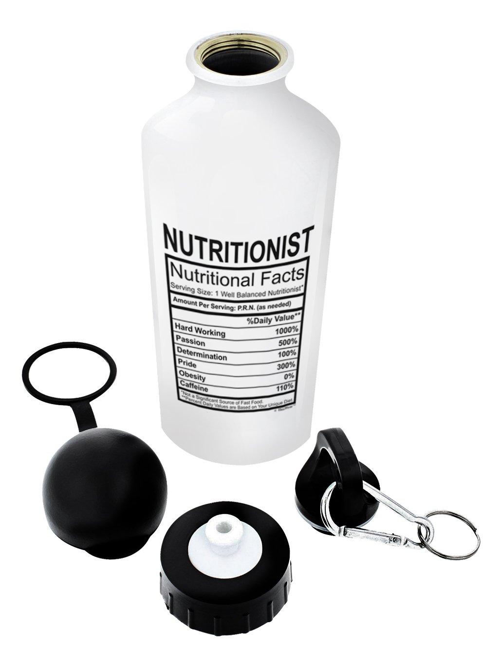 栄養士卒業ギフト栄養士栄養成分ギフトアルミニウムウォーターボトルキャップ&スポーツトップ B07577D23Q  ホワイト