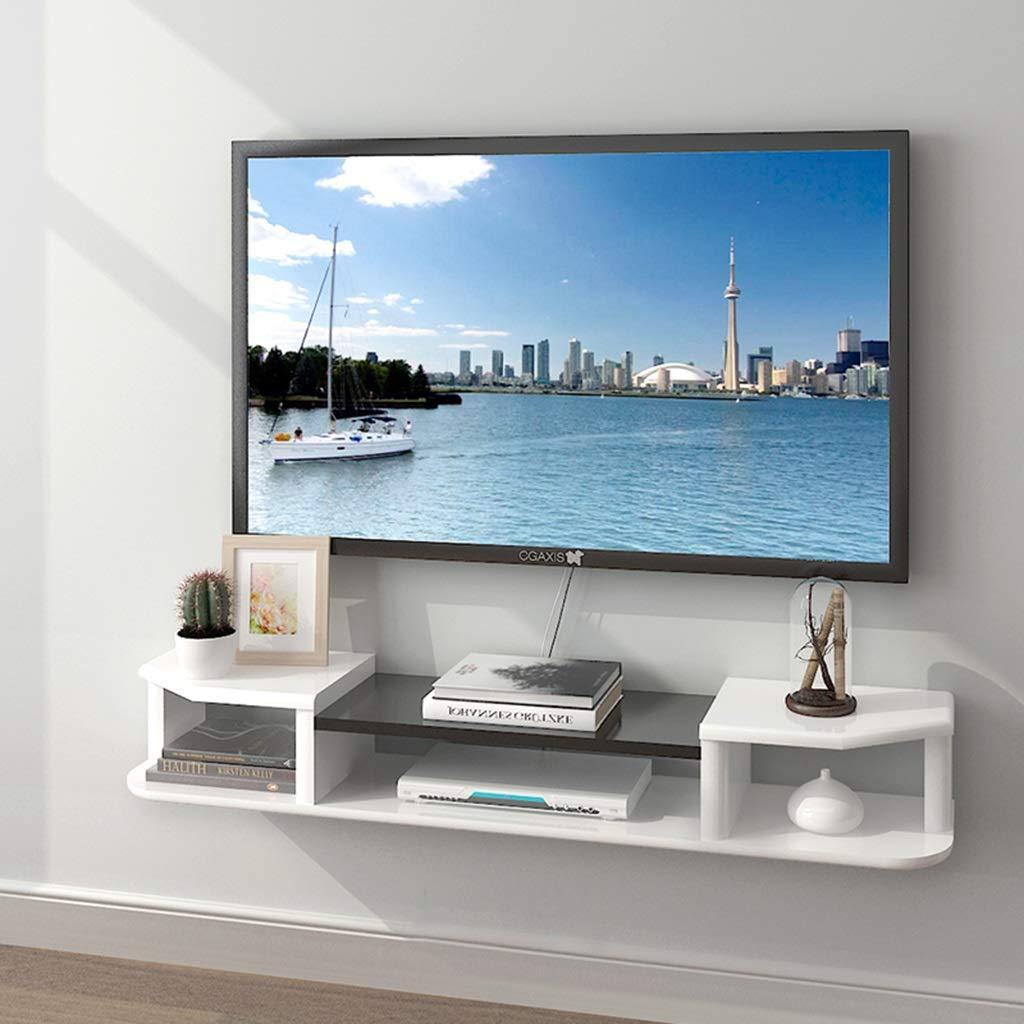 白い壁フローティング棚セットトップボックス棚壁テレビ背景壁の装飾フレーム壁掛けテレビキャビネットクリエイティブ装飾フレームでリビングルーム (色 : White+black, サイズ さいず : 120cm) B07QY99KPQ White+black 120cm