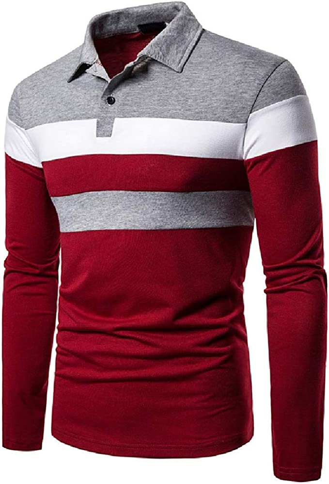 CuteRose Men Turn-Down Collar Contrast Color Long Sleeve ...