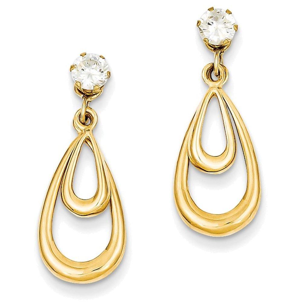 14k Yellow Gold Polished W/cz Stud Earring Jackets