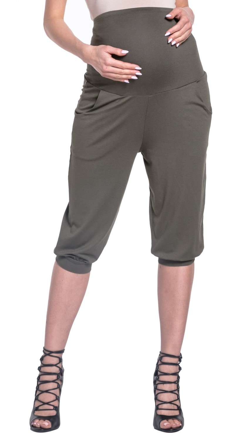 Happy Mama Womens Elastic Maternity Capri Pants With Stretch Waistband. 665p (Khaki, US 2, S)