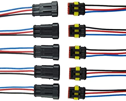5Set 2 Pin Way 12V Electrical Wire Connector Plug Cable Waterproof For Car ATV