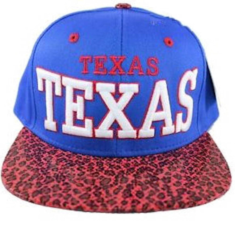 Texas Snapback Faux Snake Leopard Skin Bill Baseball Cap Hat