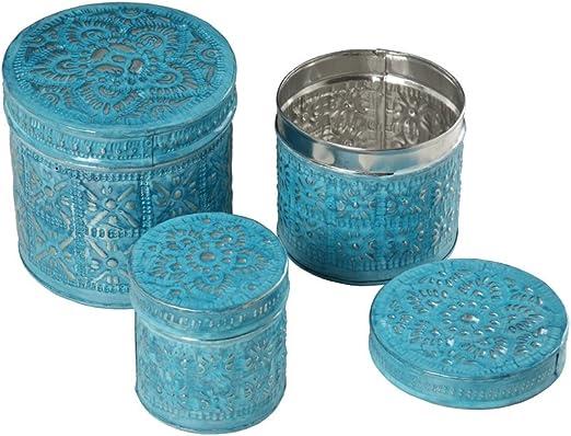 Hogar y Más - Caja Redonda metálica Color Azul diseño Mandala en Tres tamaños Greek - Mediano: Amazon.es: Hogar