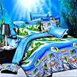 yeeKin 3D Oil Blue Ocean Green Palm Hawaii Holiday Desing Ocean Fish Design Bedding Sets 4PC No Comforter Queen Size