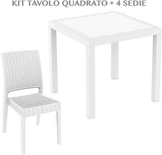 professional ORLANDO 80 + FLORIDA Mesa cuadrada con 4 sillas de jardín efecto Rattan de plástico resistente resina de exterior blanco/marrón/antracide Orlando 80 + Florida, BIANCO: Amazon.es: Jardín