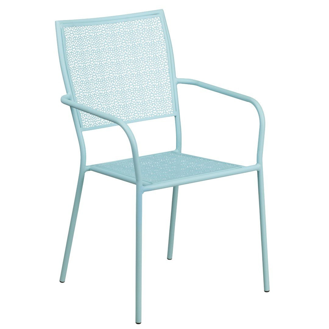 MFO Sky Blue Indoor-Outdoor Steel Patio Arm Chair with Square Back