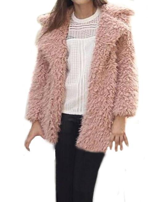 ZANZEA Mujer Fluffy Shaggy Cabo Abrigo Piel Collar Cuello Invierno Chaquetas Outwear Cardigan Rosa ES 36-38/ASIAN M: Amazon.es: Ropa y accesorios