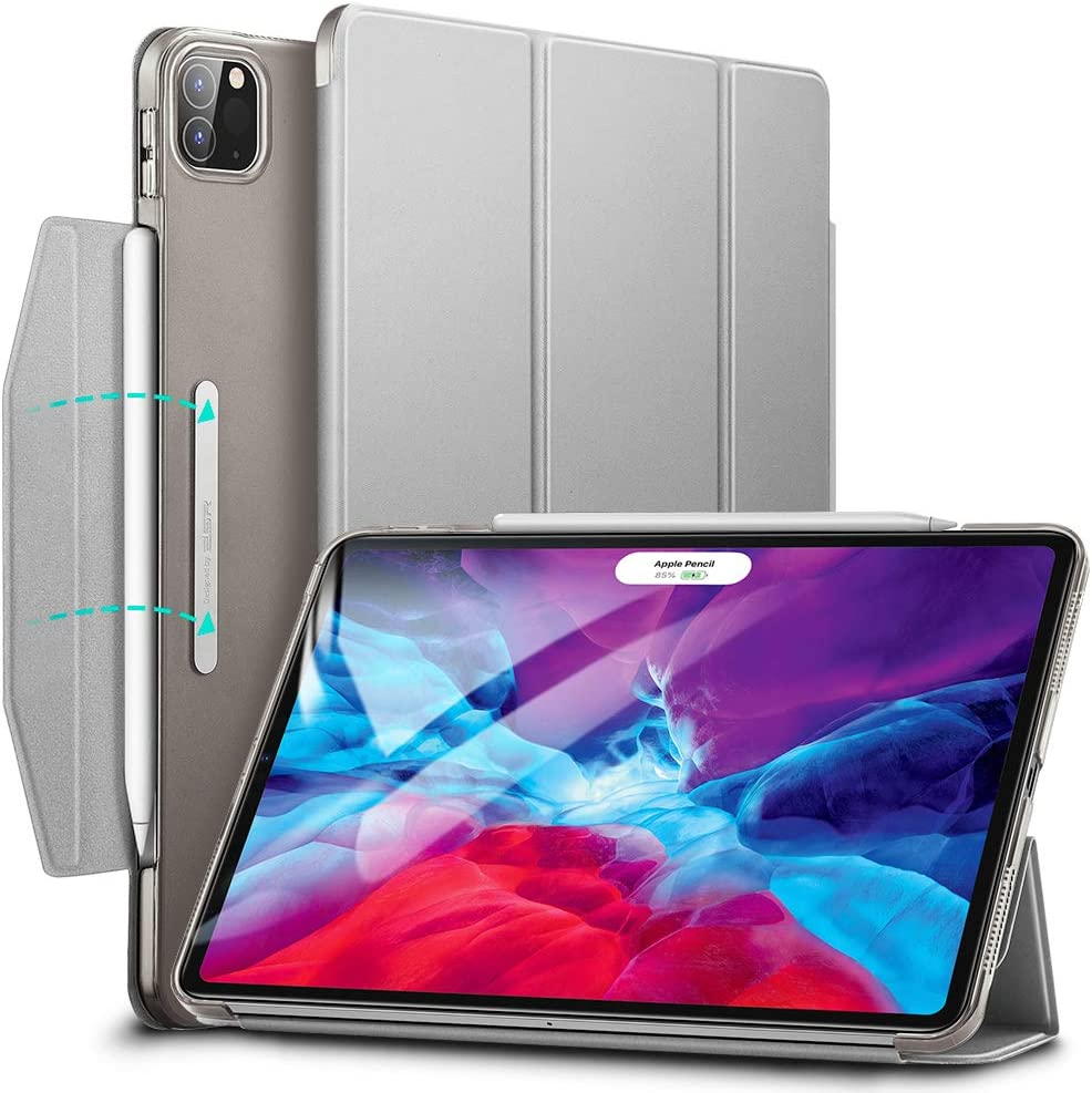 ESR Yippee Trifold Smart Case for iPad Pro 12.9 2020/2018, Lightweight Stand Case with Clasp, Auto Sleep/Wake [Supports Pencil 2 Wireless Charging], Hard Back Cover for iPad Pro 12.9 Silver Gray