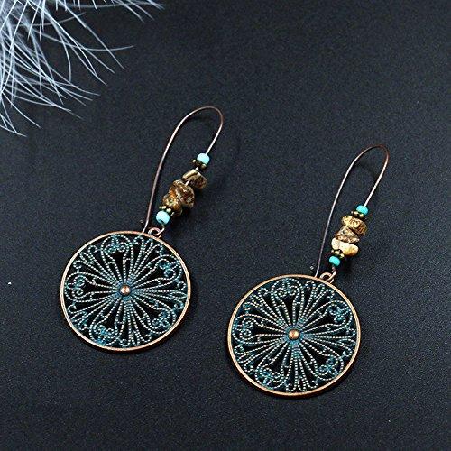 TIDOO Jewelry Womens Vintage Dangle Earrings Long Ear Hook Ethnic Earrings for Girls