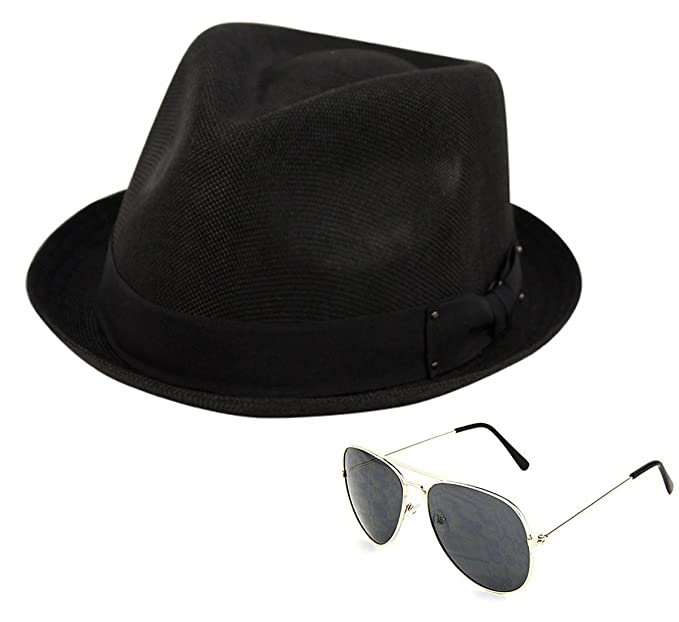 158790ea65b Epoch Men s Summer Lightweight Linen Fedora Hat with Aviator Sunglasses