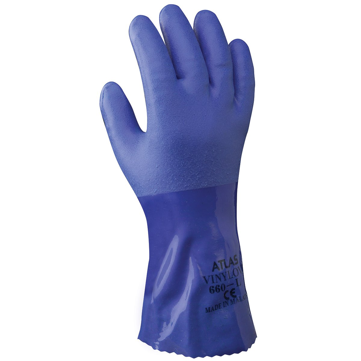 SHOWA Atlas 660XL-10 Triple-Dipped PVC Coated Glove with Cotton Liner, X-Large (Pack of 12 Pairs)