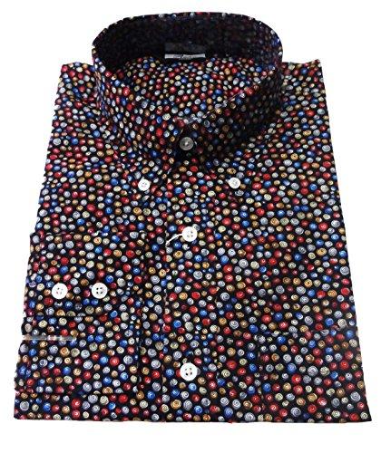 Relco schwarz Multi Swirly Polka Herren 's Classic Mod Vintage Design Shirt 's S–XXXL