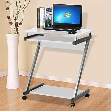 chinkyboo - Z de Escritorio para Ordenador con Teclado Deslizante 4 Ruedas pequeñas PC de la Oficina Mesa móvil portátil Estudio Estación de Trabajo marrón: ...