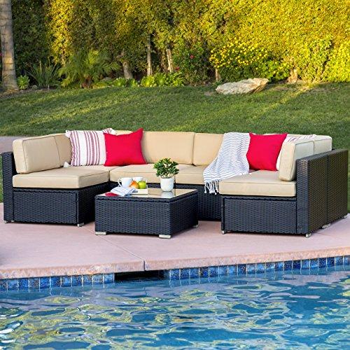 best 7 piece outdoor patio garden furniture wicker rattan sofa set sectional black