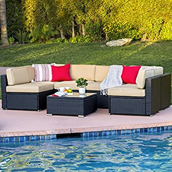 Best ChoiceProducts 7 Piece Outdoor Patio Garden Furniture Wicker Rattan  Sofa Set Sectional, Black