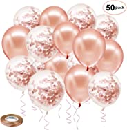Rose Gold Confetti Latex Balloons, 50 Pack 12 inch Birthday Balloons with 65 Feet Rose Gold Ribbon for Party Wedding Bridal S