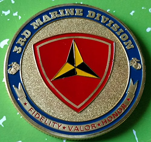 USMC Marine Corps 3rd Marine Division Military Colorized Challenge Art Coin