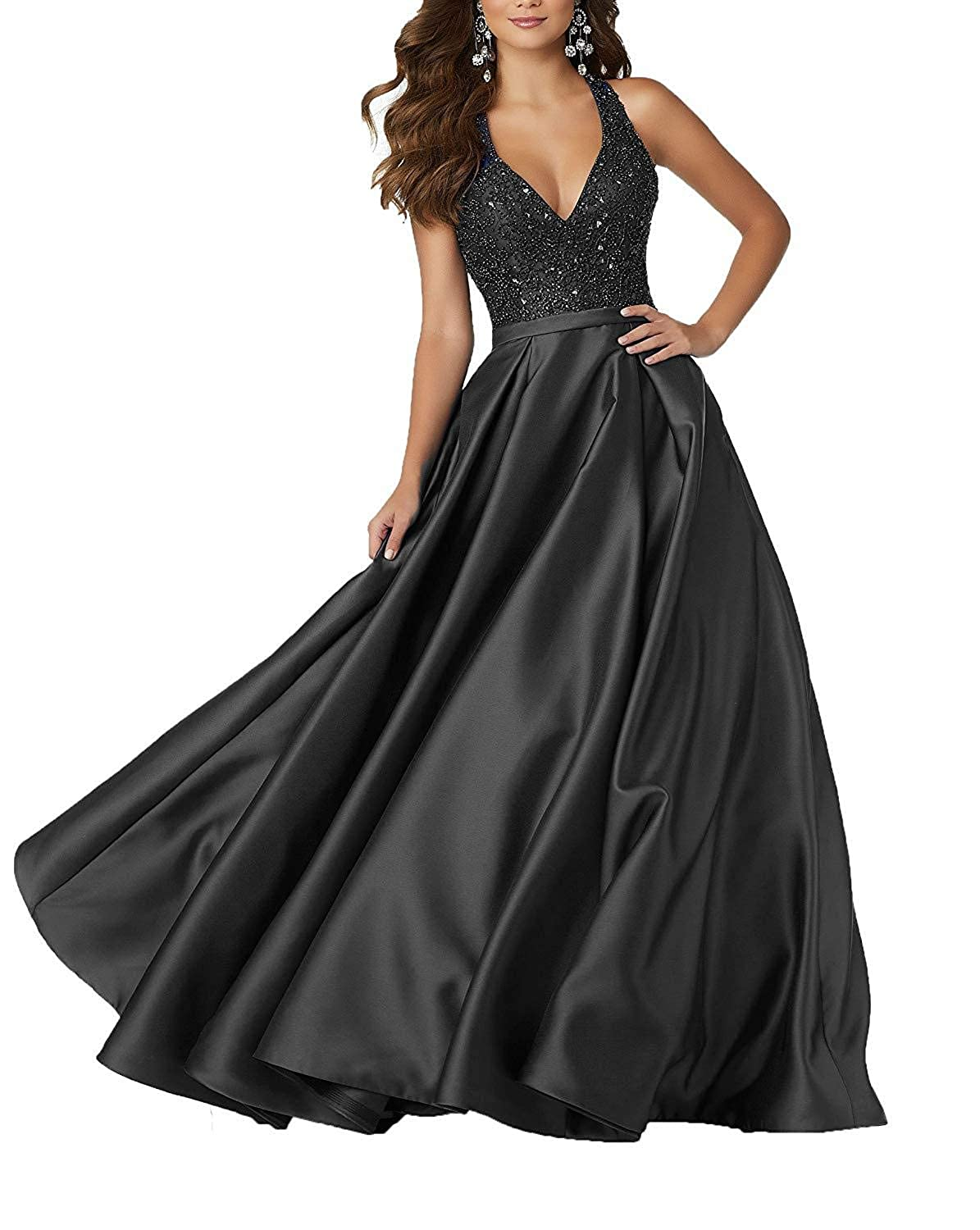 Black Staypretty Long Prom Gowns for Women Beaded V Neck Evening Dress Satin Aline Backless Formal Gown