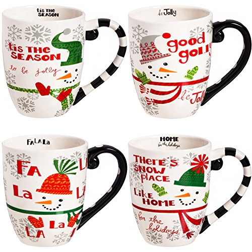 Travel Coffee Ceramic Mug Funny Christmas Porcelain Tea Cup 18oz. by CYPRESS, Set of 4