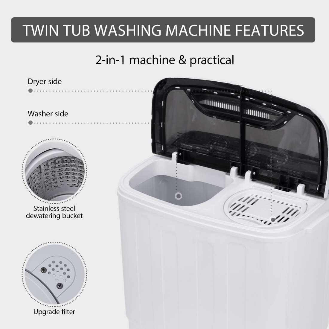 VIVOHOME Electric Portable 2 en 1 Twin Tub Mini Lavadora de ...