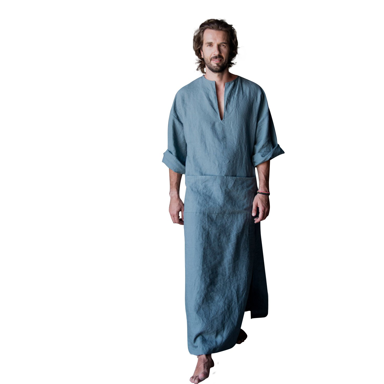 7 VEILS Mens Cotton and Linen Ultra Length Ankle-Length Robe Bathrobe Gown-Blue-M