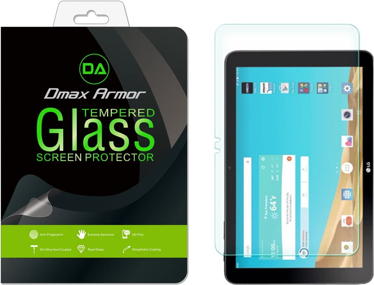 Dmax Armor for LG G Pad X 10.1 Screen Protector, [Tempered Glass] 0.3mm 9H Hardness, Anti-Scratch, Anti-Fingerprint, Bubble Free, Ultra-Clear