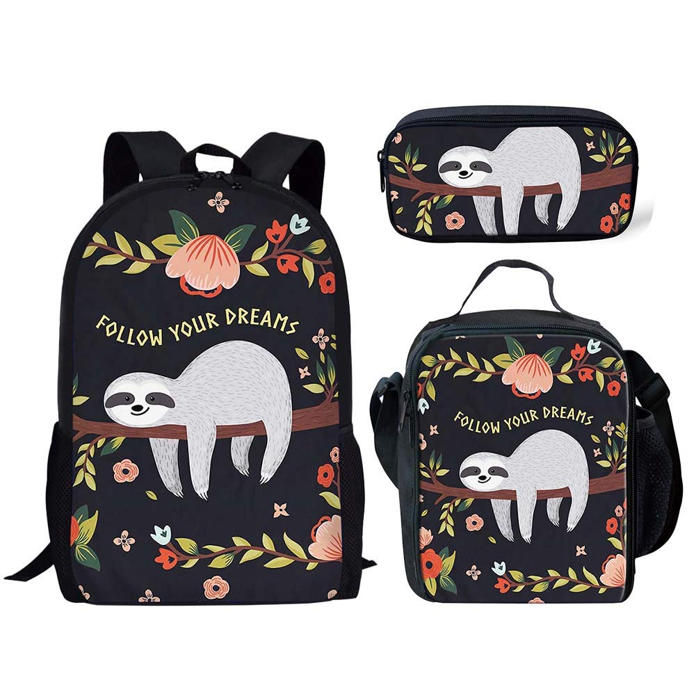 5997d6913808 Salabomia Campus Student Backpack Set with Floral Sloth 3D Printing Kids  Pencil Bags Food Box