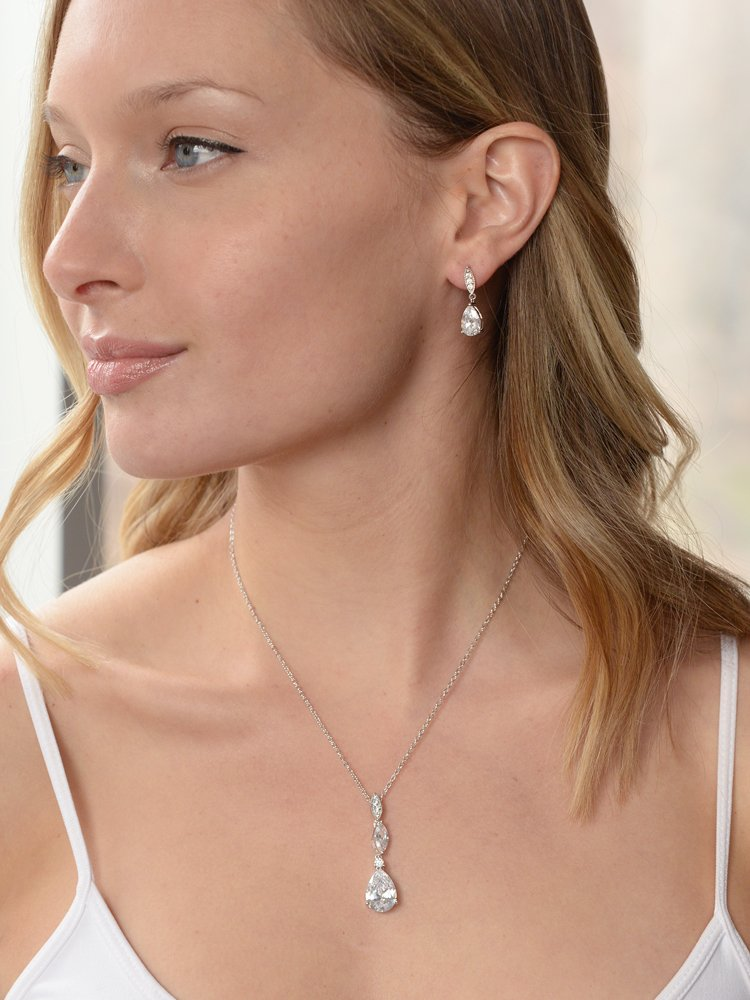 Mariell Platinum Plated Pear-Shaped CZ Bridal, Bridesmaids or Prom Necklace and Earring Set by Mariell (Image #3)