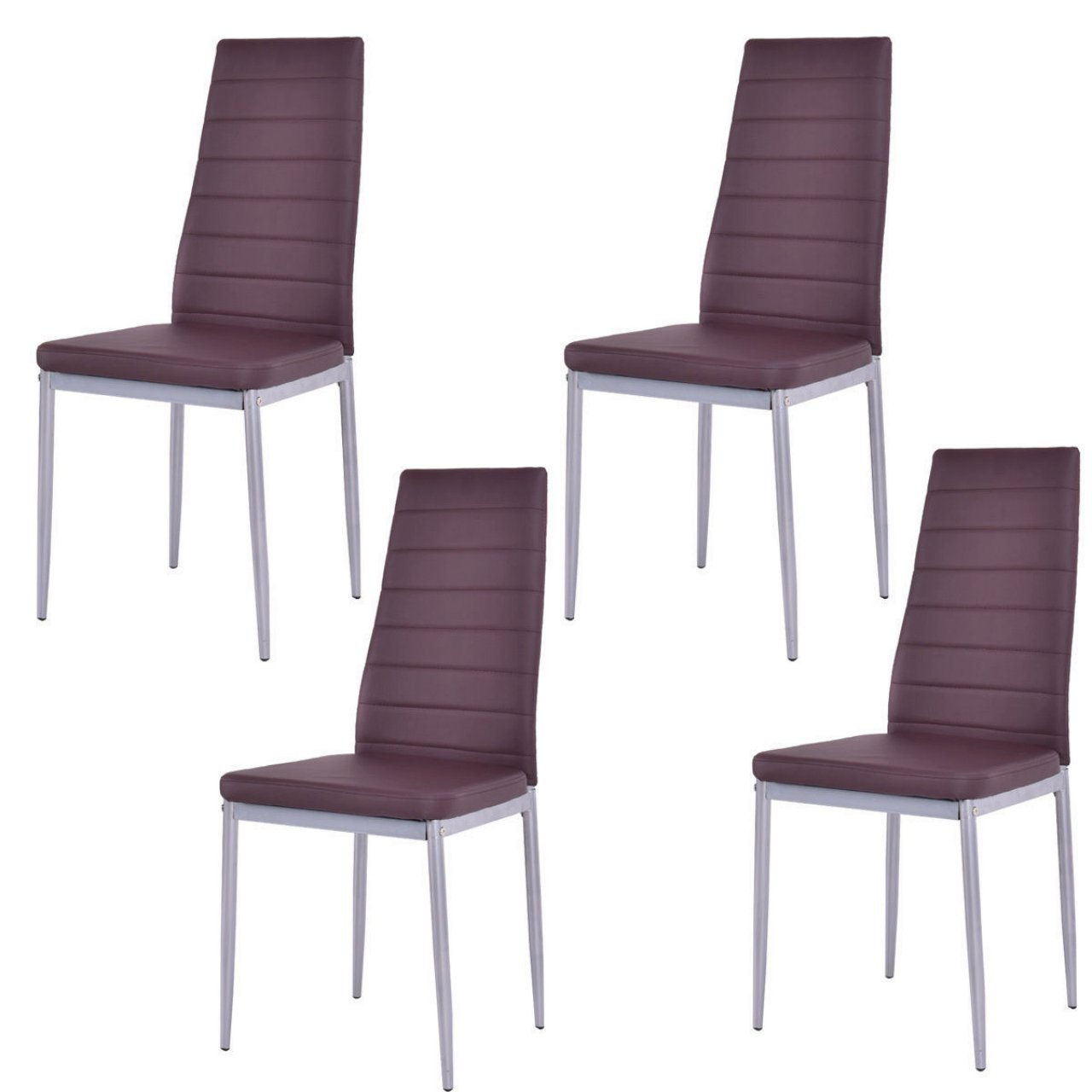 Set of 4 Elegant Dining Chairs Modern Design Comfortable Home Office Furniture/ Brown #1004